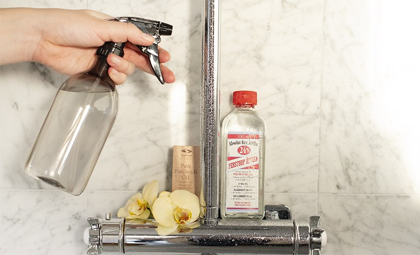Cleaning spray with essential oil.