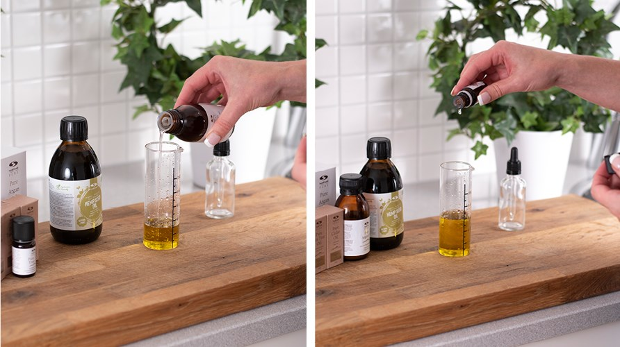 Two pictures of a person pouring oil and essential oil into a measuring glass.